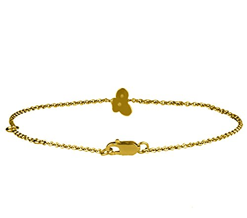 Or Jaune 14 ct Bracelet Diamant en forme de papillon, 0.01 Ct Diamant, GH-SI, 2.07 grammes.