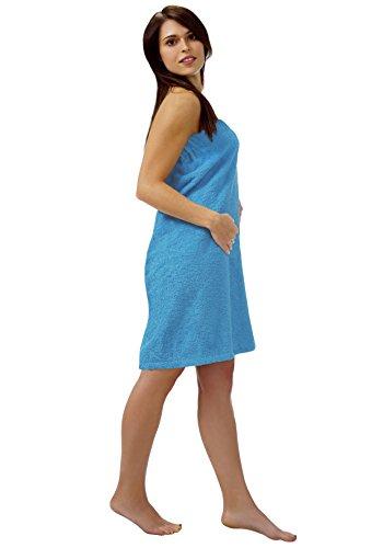 Sauna Kilt Para Mujer Azul XXL en Nueva York, la toalla de sauna de schlingenfesten Rizo, sarong de sauna colocar: Color Azul Oscuro o claro, algodón mezcla, azul claro, 160_x_75_cm azul claro