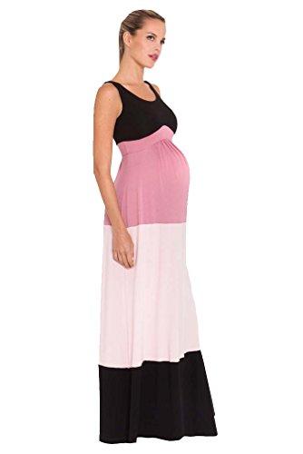 Olian Margarette Color Block Maternity Maxi Dress - Black/Pink - X-Small