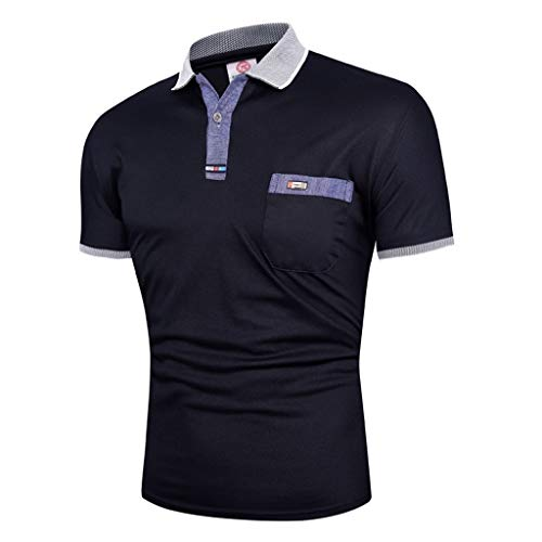 Dry fit Polo Shirts for Men Short Sleeve Regular Fit Striped Polo Shirt with Pocket Mens Casual Summer 2019