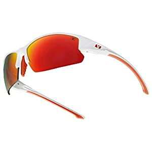 Vigor Eyewear Boulder Sunglasses, Polished White With Crimson Polarized+ Lens
