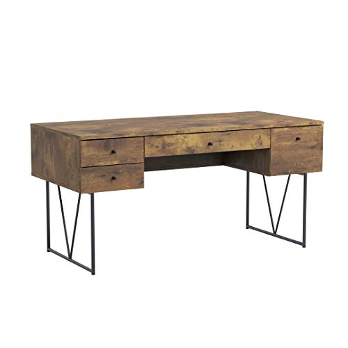 Analiese 4-Drawer Writing Desk Antique Nutmeg and Black ()