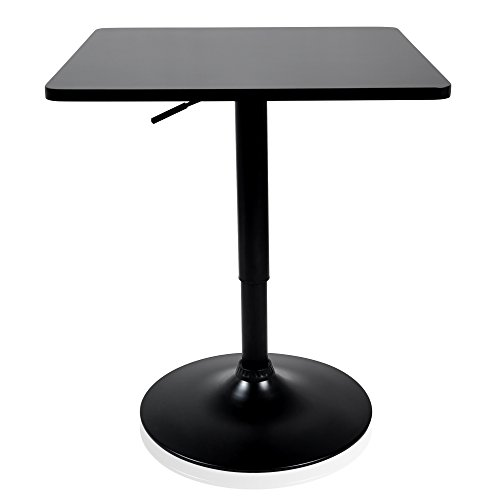 Krei Hejmo Adjustable Square Dining Cocktail Table with Metal Base VERŜO ORTA (Black, Square ()