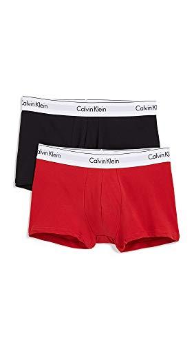 Calvin Klein Underwear Men's 2 Pack Modern Cotton Stretch Trunks, Manic Red Black, X-Large