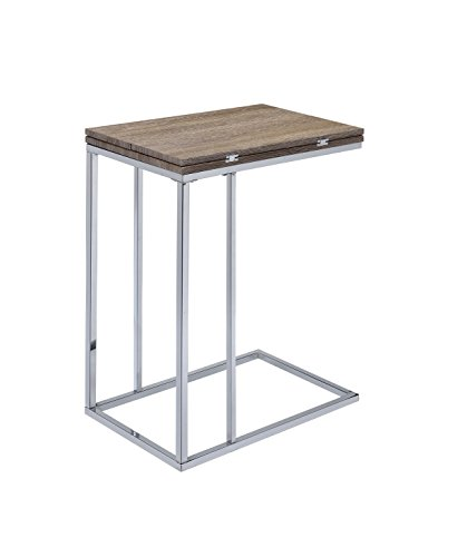 Side Desk Extension - Acme Denson Side Table with Swivel Extension Top, Gray/Weathered Oak and Chrome