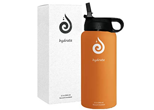 Hydrate Stainless Steel 32oz Water Bottle with BPA Free Straw Lid. Vacuum Insulated. (Harvest Orange)