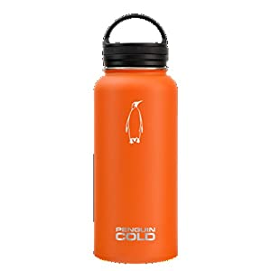 Penguin Cold 32 oz. Insulated Stainless Steel Water Bottle, Orange with Black Loop Handle Lid
