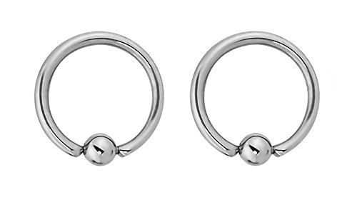 Forbidden Body Jewelry Pair of Every-Day Piercing Rings: 14g 10mm Surgical Steel Captive Bead Hoop Rings, 3mm Balls (14g Ring Bead Captive)