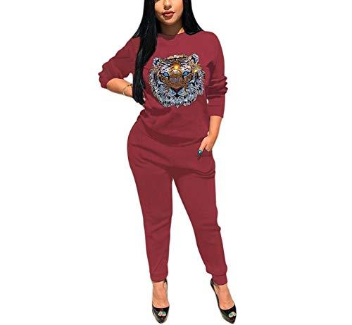 Famnbro Women 2 Piece Outfits Casual Sequin Long Sleeve Sweatshirts Long Pants Set Sweatsuit Tracksuits,1wine,Medium