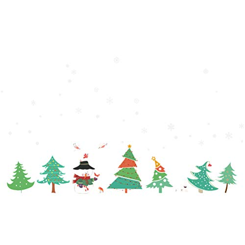 Christmas Tree Forest Snowman Lovely Wall Stickers for Kids Room Living Room Store Window Festival Decals Home Decor