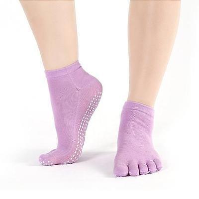 DudeFeet Non Slip Skid Women Yoga Barre Pilates Toe Socks Full Grip Socks Heel #20