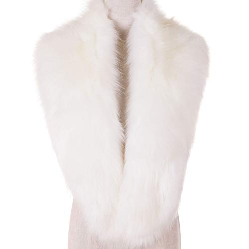 Dikoaina Extra Large Women's Faux Fur Collar for Winter Coat,White,120cm]()