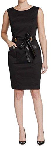 Ellen Tracy Women's Faux Leather-Trimmed Poplin Sheath Dress (6P, Black) ()