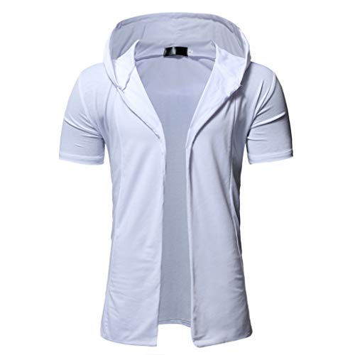 TANLANG-men Casual Solid Color Hooded Short Cropped Shirt Top Cardigan Jacket Loose Style Flying Crane Seven Sleeves Coat White ()