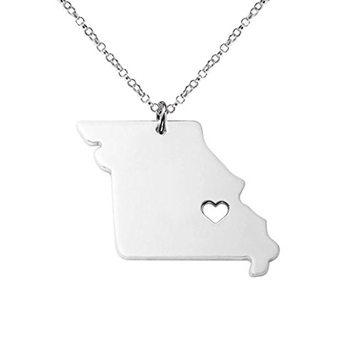 18K Gold Silver Country Map Charm Pendant Missouri state Map Necklace Jewelry (Silver)