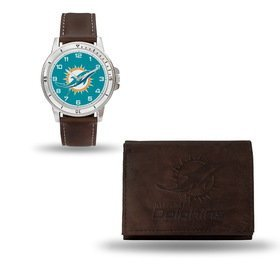 NFL Miami Dolphins Men's Watch and Wallet Set, Brown, 7.5 x 4.25 x 2.75-Inch
