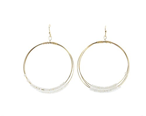 Earrings Door Knocker (Violet & Virtue Women's Gold Tone Door Knocker Beaded Hoop Earrings (White))