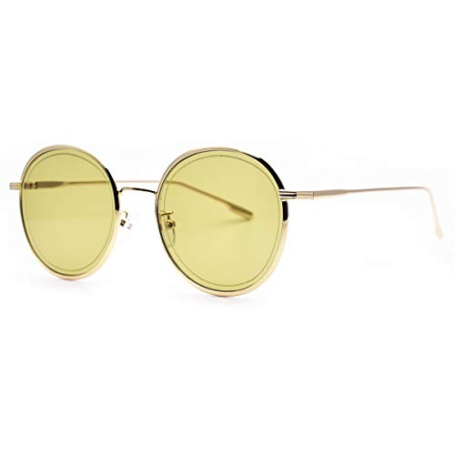SamuRita Retro Green Classic Crystal Lenses Metal Round Sunglasses Unisex 2019NRND(C2:Tinted Green Lens with Gold Frame)