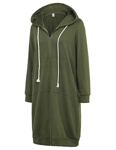 GRACE KARIN Women's Casual Pockets Zip up Hoodies Tunic Sweatshirt Long Hoodie Jacket