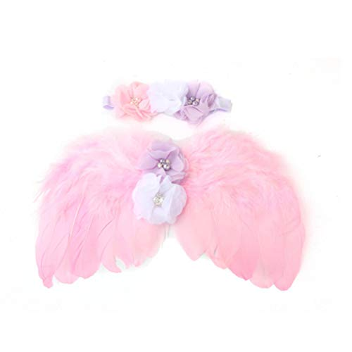 YeahiBaby Angel Wings Suit with Headbands Baby Newborn Photography Props Cute Suits (Pink) -