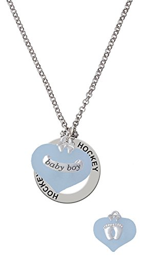 Baby Boy Blue Heart with Baby Feet - Hockey Affirmation Necklace