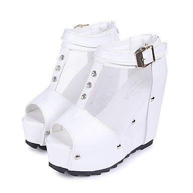 LFNLYX Mujer-Tacón Cuña-Cuñas-Botas-Casual-PU-Negro / Blanco White