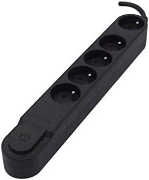 c/âble 1,5 m HO5VV-F 3x1,5 mm CHACON 47520 Noir Bloc multiprise 5 Prises 16 A avec Interrupteur