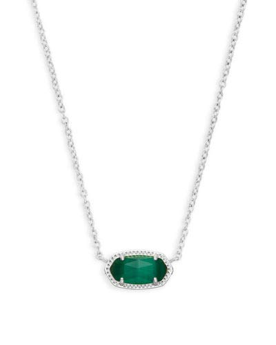 Kendra Scott Elisa Silver Pendant Necklace in Emerald Cats Eye May