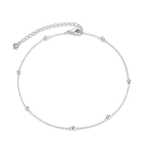 Mevecco Silver Dainty Bead Plain Chain Choker Necklace,14K Silver Plated Cute Tiny Satellite Chain Minimalist Simple Boho Choker Necklace for Women and -
