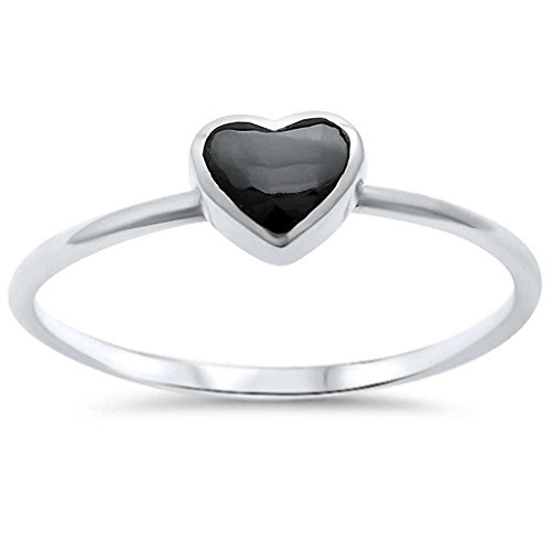 Sterling Silver Black Onyx Heart Ring Sizes 9