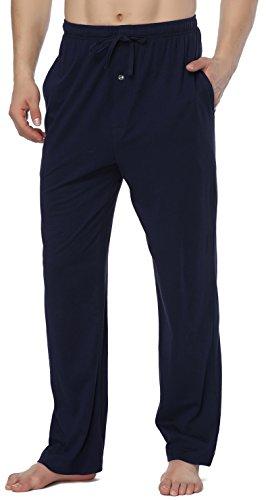 RENZER Men's Pajamas Pants 100% Knit Cotton Sleep Long Lounge Pants Mazarine X-Large