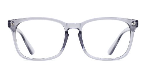 TIJN Unisex Stylish Non-Prescription Eyeglasses Glasses Clear Lens Square Eyewear Grey ()