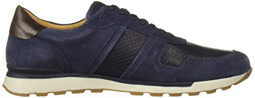 MARC JOSEPH NEW YORK Men's Leather Made in Brazil Luxury Fashion Trainer Sneaker, Navy Suede, 8 M US