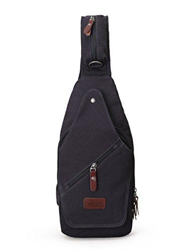 Sack Sling (Muzee Sling Bag for Men Chest Shoulder Gym One strap Backpack Sack Satchel Outdoor Crossbody Pack (Blue black))