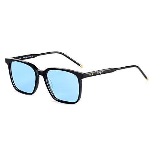 EyeGlow Large Sunglasses for Men Square Wide Polarized Lens Acetate Material Magick (Black vs Blue Tinted lens, As - Sunglass Hut Pictures