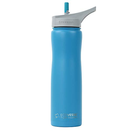 (EcoVessel Summit TriMax Vacuum Insulated Stainless Steel Water Bottle with Flip Straw Top - 24 Ounce - Teal Lagoon )