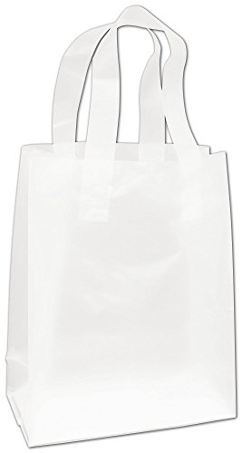 Clear Frosted High Density Flex Loop Shoppers  8X4x10   250 Bags    Bows 268 080410