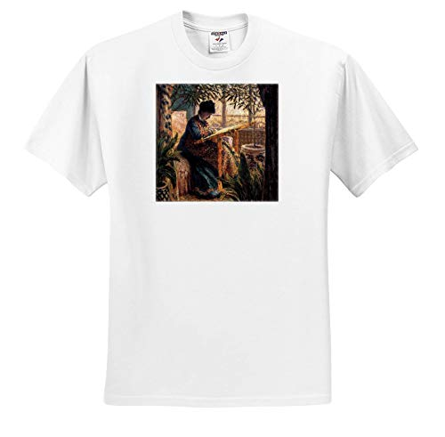 3dRose VintageChest - Masterpieces - Claude Monet - Madame Monet Embroidering - T-Shirts - Toddler T-Shirt (3T) (ts_303333_16) White (Shirt Monet Toddler)