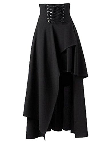 (Sorrica Women's Victorian Lolita Skirt Steampunk Vintage Style Skirt (L, Black))