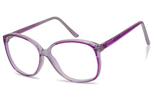 Large Colored Transparent Vintage Fashion Nerd Non-prescription Clear Lens Glasses (Transparent Purple)