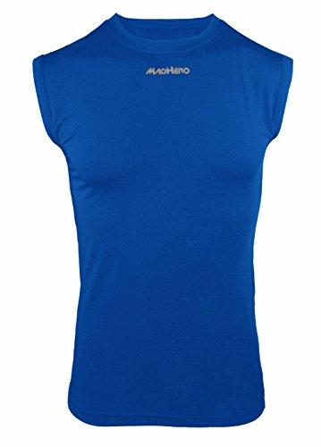 - MADHERO Men Compression Shirt Sport Baselayer Workout Tank Tops Sleeveless Treasure Blue Size L