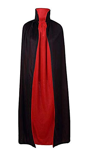 yolsun Black&Red Reversible Cloak for Adult, Halloween Costume Dress up Accessories Cape 55