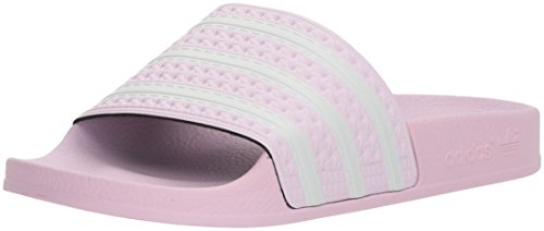 adidas Originals Girls' Adilette J, Aero Pink/White/Aero Pink, 4 M US Big Kid