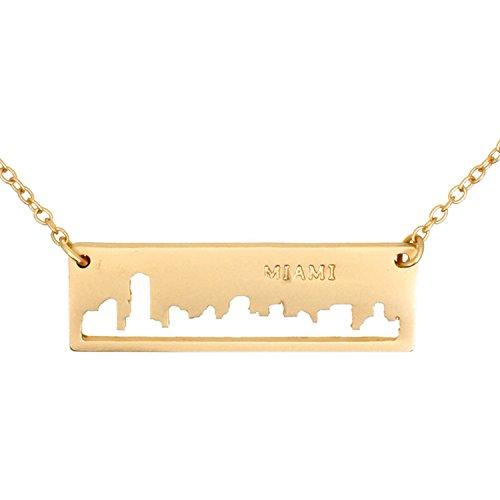 Rectangular Shaped Pendant (Patriotic United States: City Skyline Matte Gold-Tone Rectangular Cut-Out Pendant Necklace: Miami)