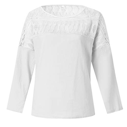 (Women's Blouses Tops Casual Lace Stitching Striped Pit Top Long-Sleeved Turtleneck Shirts White)