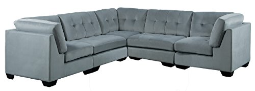 Homelegance Savarin 5 Piece Sectional Sofa in Tufted Accent Fabric Cover, Gray