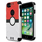 iPhone 7 Case, iPhone 6 / 6S Case, Capsule-Case Hybrid Dual Layer Silm Defender Armor Combat Case Brush Texture Finishing for Apple iPhone 7 / iPhone 6S / iPhone 6 - (Red Ball)
