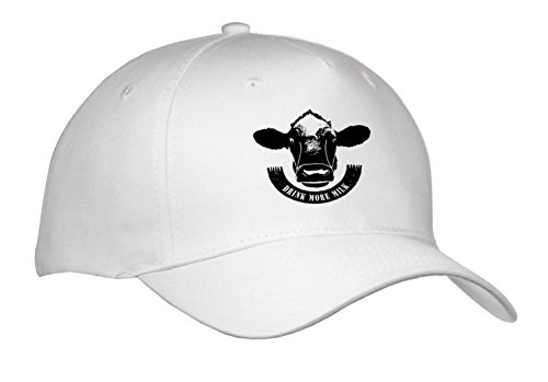 Russ Billington Designs - Drink More Milk- Cows Head and Scroll in Black and White - Caps - Adult Baseball Cap (cap_262057_1) ()