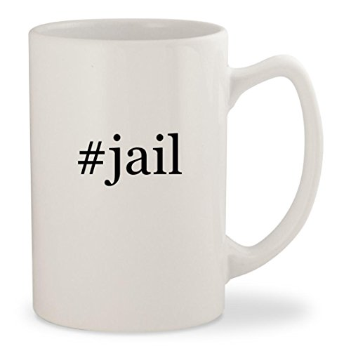 #jail - White Hashtag 14oz Ceramic Statesman Coffee Mug (Galileo Costumes)