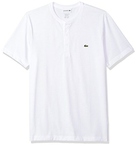 Lacoste Men's Short Sleeve Henley Jersey Pima T-Shirt, White, Small